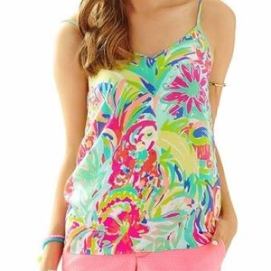 NWT Lilly Pulitzer Silk Zoe Top M Casa Banana
